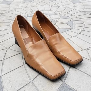 Bandolino BD Crush Tan Square Toe Leather Pumps 8
